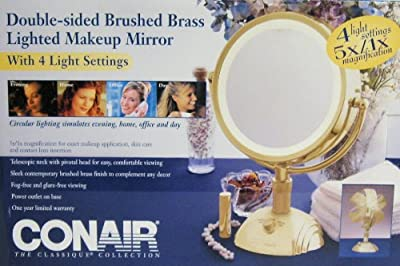 Best Cheap Deal for Conair Brushed Brass Double-sided 1x-5x Lighted Makeup Mirror from Unknown - Free 2 Day Shipping Available