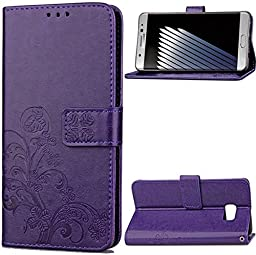 Galaxy Note 5 Case,Superstart Beauty Luxury Lucky Flowers Fashion Floral Blue PU Flip Stand Credit Card ID Holders Wallet Leather Case Cover for Samsung Galaxy Note 5--Purple