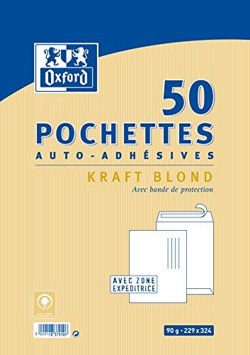 oxford-correspondance-pochettes-auto-adhesives-pack-de-50-kraft-brun