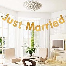 ZJCilected Just Married Wedding Banner Wedding Sign Garland Wedding Banquet Decoration Supplies, Gold