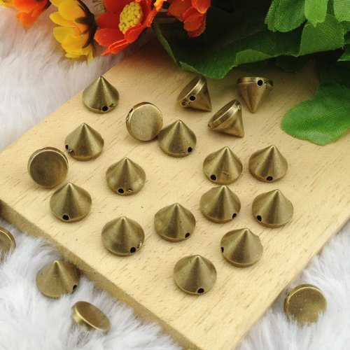 Ottery Acrylic Bullet Cone Spikes Brass Color About 100pcs 10x8mm Stud Rock Bracelet Pyramid Punk Belt Bag Flat Back Conical Findings Supplies by Homat