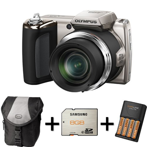 Olympus SP-620UZ - Silver+ Case + 8GB Memory Card + 4XAA Battery and Charger(16MP, 21x Wide Optical Zoom) 3 inch LCD