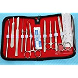 SET OF 20 PCS BIOLOGY LAB ANATOMY MEDICAL STUDENT DISSECTING DISSECTION KIT WITH SCALPEL BLADES #22 -CYNAMED USA