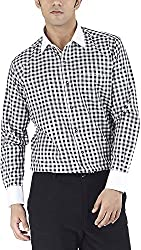 Silkina Men's Regular Fit Shirt (VPOI1200FBK, Black Checks, 42)