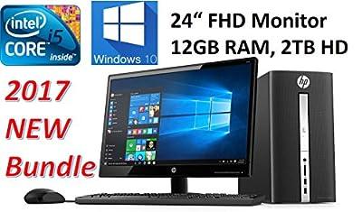 "HP Pavilion High Performance Desktop Bundle (2017 Newest) with 24"" Full HD Monitor, Intel Core i5-6400T Quad Core Processor, 12GB DDR4 Memory, 2TB Hard Drive, DVD+/-RW, Wifi, Bluetooth, Windows 10"