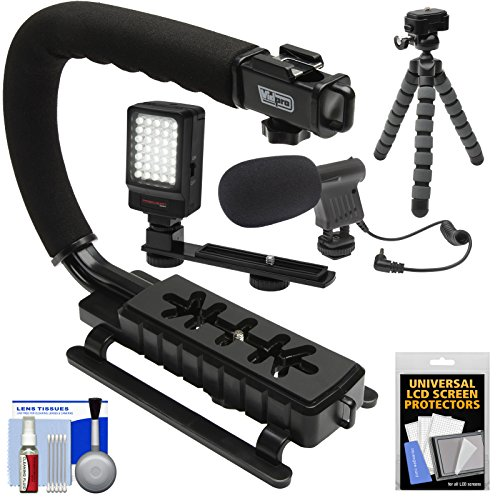 Vidpro-VB-12-Stabilizer-Hand-Grip-for-DSLR-Cameras-Video-Camcorders-Action-Cameras-with-Microphone-Flex-Tripod-Kit