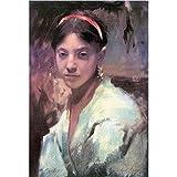 Art Panel - Head Of A Capri Girl By John Singer Sargent