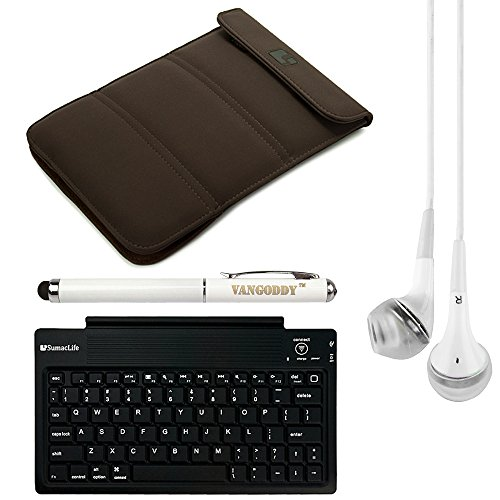 Sumaclife Burnett Wrapper Sleeve Cover For Asus Fonepad 7 Me175Cg Fe170Cg Me372Cl Me372Cg 7-Inch Tablets + Bluetooth Keyboard + Laser Stylus Pen + White Headphones (Black)