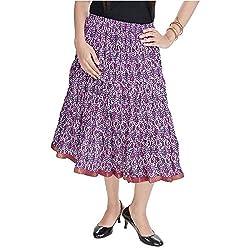 SHREEMANGALAMMART Fashionable Ethnic Cotton Short Skirt (Multi)(SMSKT573)