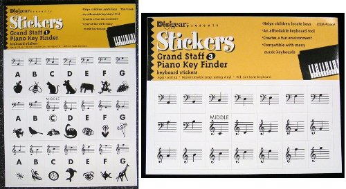 Gs1+3 Piano Key Finder Stickers - Grand Saff Keyboard Labels Decals