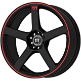 "Motegi Racing MR116 Matte Black Wheel With Red Racing Stripe (16x7""/5x100, 114.3mm, +40mm offset)"