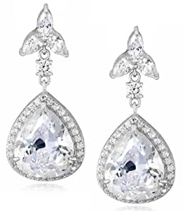 Amazon.com: Charles Winston, S Silver, Cubic Zirconia Pear ...