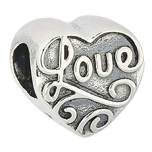 Love Heart Flower Floral Authentic 925 Sterling Silver Bead Love Heart Charm Bead Fits Pandora Charms