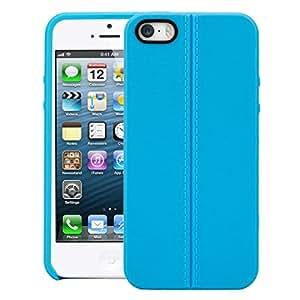 iPhone SE Case, SWAN Stiched Line Design Armor Flip TPU Back Case Cover For Apple iPhone SE (Blue)