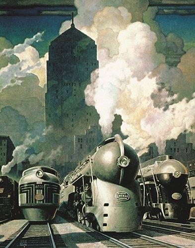 New York Central Railroad System Train. Fine Art Print Poster (22 x 28) (Central Train New York Poster compare prices)
