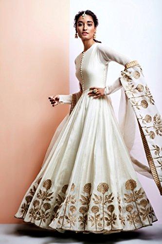 zfashion womens white gold color faux georgette stylish - Gold Color Dress