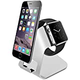 Amir® Apple Watch スタンド iPhone スタンド 充電スタンド クレードル アップル ウォッチ 38mm/42mm 対応 アルミニウム製 2in1充電スタンド 銀色