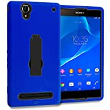 Accessory Planet(TM) Blue / Black Heavy Duty Hybrid Hard/Soft Silicone Case Cover with Stand Accessory for Sony Xperia T2 Ultra D5303