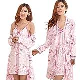 フェミニン ルーム ミニ ワンピース 花柄 キャミソール ガウン セット (style B Marshmallow pink)