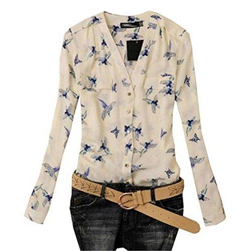 Women's blouse, Amlaiworld Women''s Fashion Bird Print Blouse Long Sleeve Casual Slim Shirts (M, colorful)