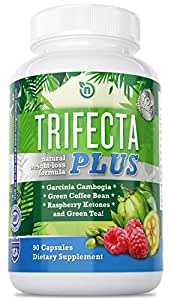 Garcinia Cambogia, Green Coffee Bean Extract, and Raspberry Ketones Trifecta Plus All-Natural Weight Loss Diet Pills for Men and Women. Fast Release Capsules, 1,300 mg Per Serving. 30-Day Supply.