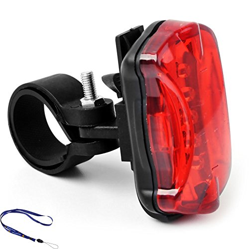 Greattree Bicycle Bike Cycling 3-Mode 5-Led Red Light Tail Warning Safety Light - Red + Black