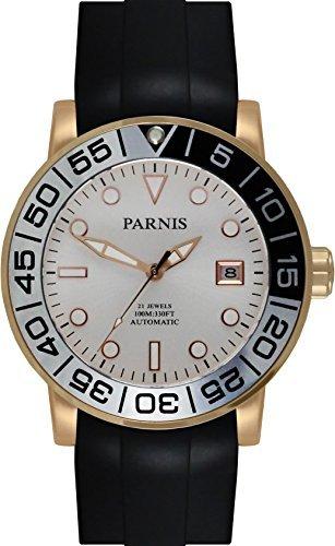 PARNIS Automatikuhr Modell 3232 MIYOTA-SPORT Herrenuhr Ø 42mm 316L Edelstahl vergoldet Saphirglas verschraubte Krone 10BAR wasserdicht Kautschuk-Armband Automatik-Uhrwerk Miyota Kaliber 821A