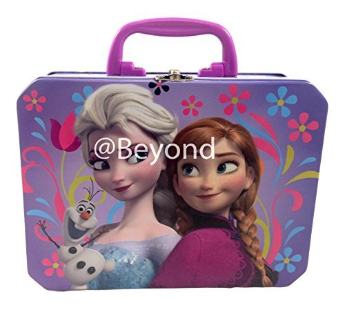 "Brand New Disney Frozen Elsa, Anna and Olaf Deluxe Large Purple Tin Lunch Box 7"" X 5.5"" X 3"""