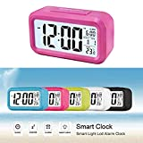 Soondar® Alarm Clock w/ Date and Temperature Display(F/C), Repeating Snooze, Light-activated Sensor Light and Touch-activated Nightlight- Batteries Powered - ROSE