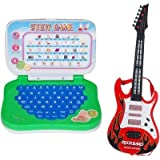 Combo Of Mini English Learning Laptop & Rockband Music Guitar