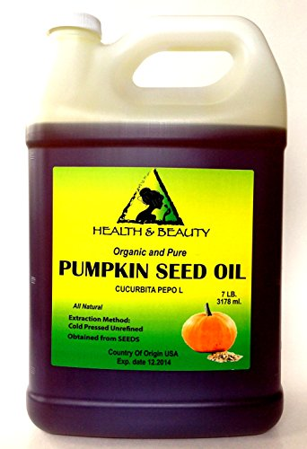 Pumpkin Seed Oil Unrefined Organic Carrier Cold Pressed Pure 128 Oz, 7 Lb, 1 Gal