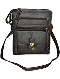 Style98 Black Premium Quality Leather Unisex Travel Official Messenger/Sling Bag