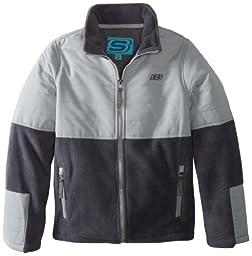 Skechers Big Boys\' Full Zip Polar Fleece Jacket, Charcoal, 14/16