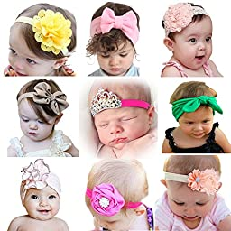 Mookiraer® Baby Girl Newest Round Dot Turban Headband Head Wrap Knotted Hair Band (MY2000)