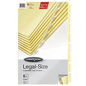 Wilson Jones Legal Insertable Dividers, 8-Tab Set, 4-Hole Punched, Clear Tabs on Buff Paper, 8.5 x 14 Inches (W54153)