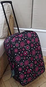 Small 41 Lts Travel Luggage Suitcase On Wheels Pink And Black Floral Pattern Expanding Trolly Light Weight