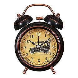 Foyou 3 Inch Mini Analog Quartz Non Ticking Metal Twin Bell Alarm Clock with Nightlight and Loud Sound ( Car )