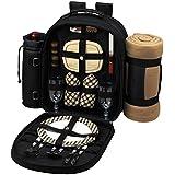 Picnic Backpack Cooler w/ Blanket For Two (Black)