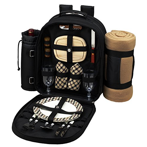 Great Features Of Picnic Backpack Cooler w/ Blanket For Two (Black)