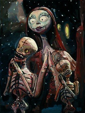 Jim Salvati The Pumpkin Dance Hand Embellished Giclee On Hand Textured Canvas - From Nightmare Before Christmas Disney Art