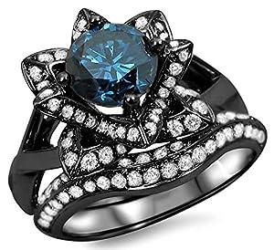 1.70ct Blue Diamond Lotus Flower Engagement Ring Set 14k Black Rhodium Plating Over White Gold