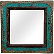 Indune's Handcrafted Brass Art Square Distressed Wooden Mirror Frame
