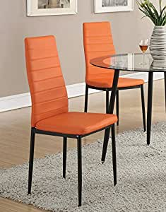Retro Style Orange Faux Leather Dining Chairs Set Of 4 By Poundex