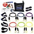 Bodylastics 14pcs Resistance Bands *MAX TENSION XT Set (142 lbs.) with 6 anti-snap exercise tubes, Heavy Duty components, carrying case, DVD and FREE 3 month membership to LIVEEXERCISE website