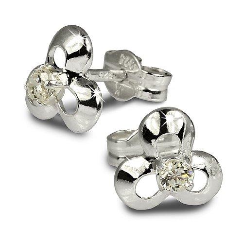 SilberDream earring Flower with white Zirkonia 925 Sterling Silver SDO529W