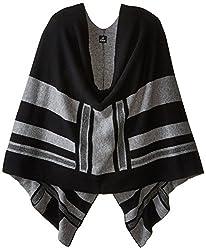 Echo Design Women's Extra Fine Merino Cashmere Blend Poncho Ruana, Black, One Size
