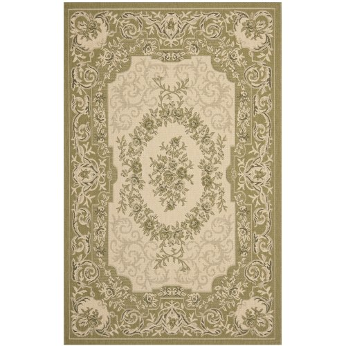 Safavieh Courtyard Collection CY7208-14A5 Cream and Green Area Rug, 6 feet 7 inches by 9 feet 6 inches (6'7