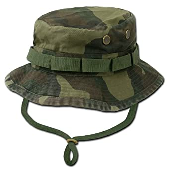 Decky Military Drawstring Boonie Bucket Hat (Woodland Camo, Medium)