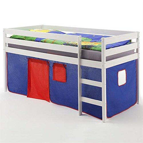 Hochbett Spielbett Kinderbett ERIK, Kiefer massiv, weiß lackiert mit Vorhang in blau/rot kaufen