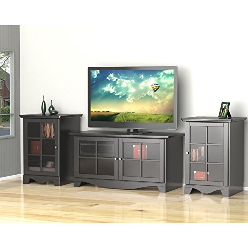 Modern Black TV Stand Set with Two Audio Stands FMP25275